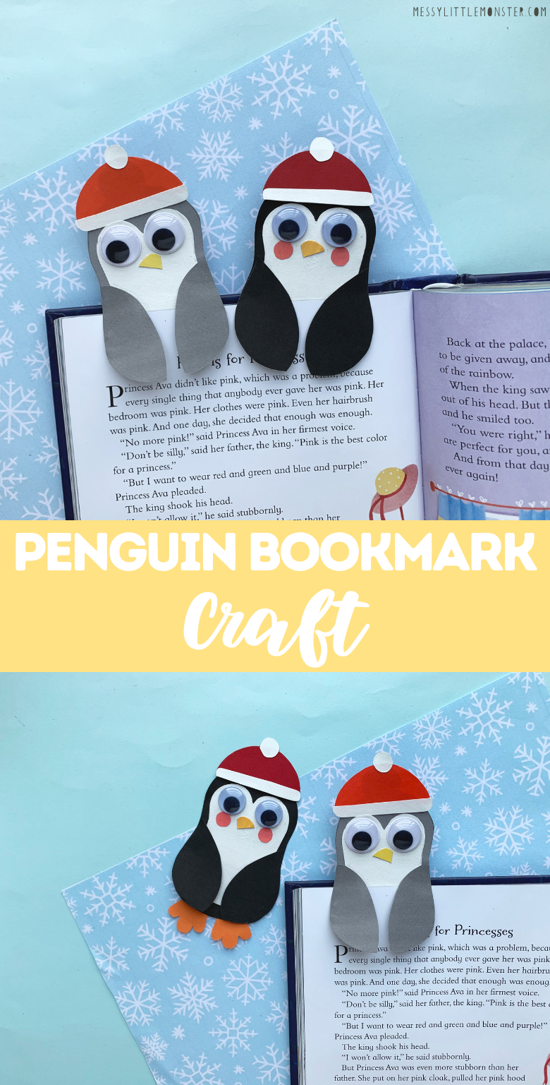 Penguin craft for kids. Easy bookmark craft with template.