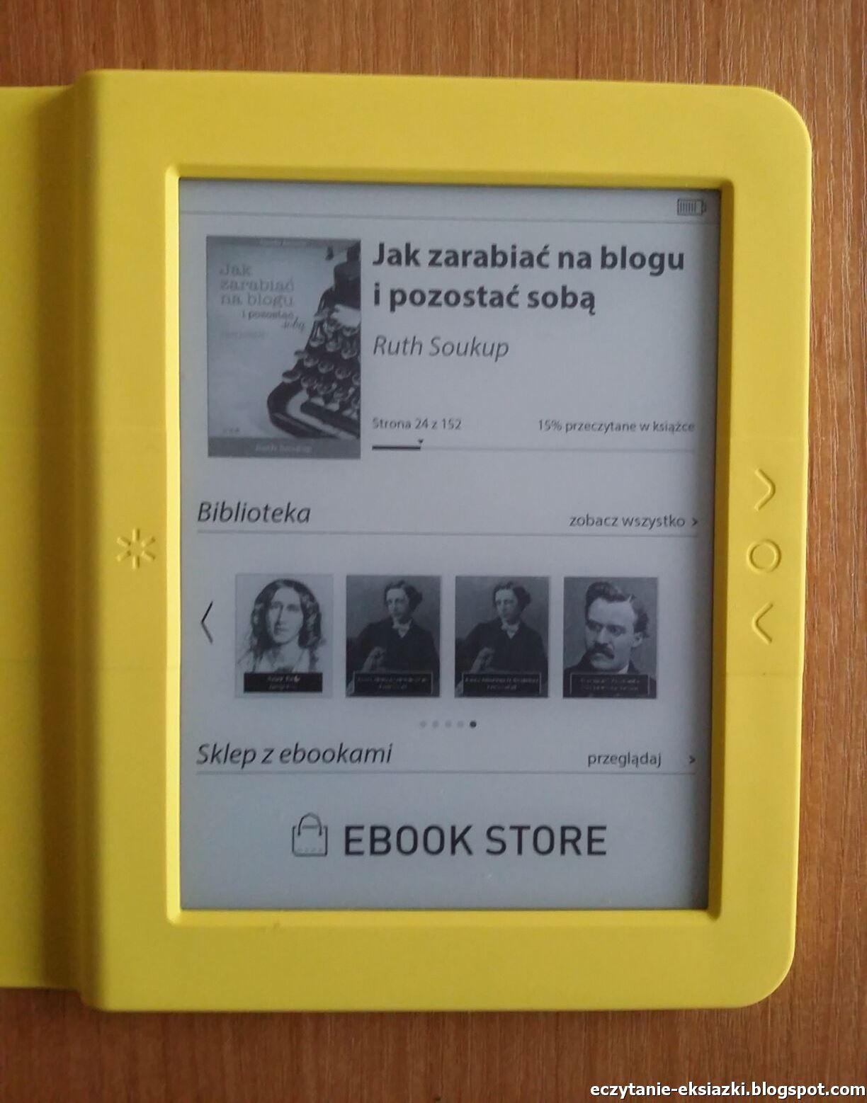 Bookeen Saga - ekran czytnika sprawia wrażenie szarego