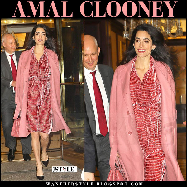 Amal Clooney in salmon pink coat, pink velvet dress bottega veneta and black pumps what she wore maternity streetstyle
