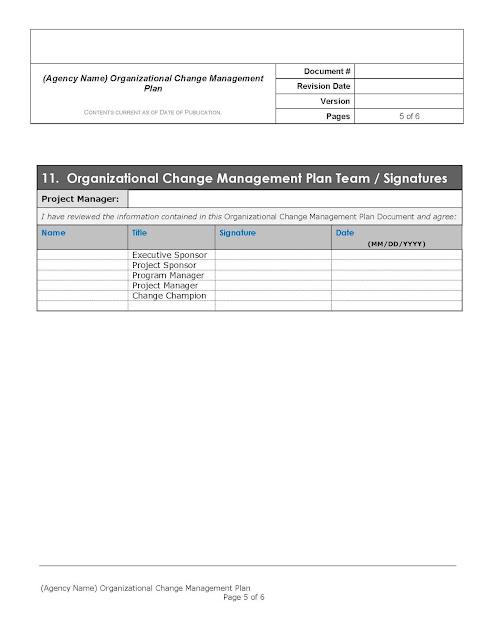 free organizational change management plan template word