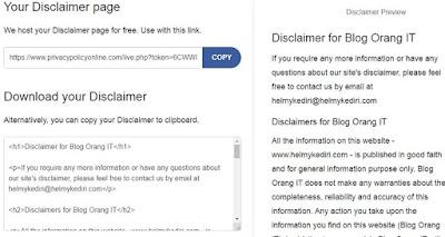 Cara membuat halaman disclaimer2