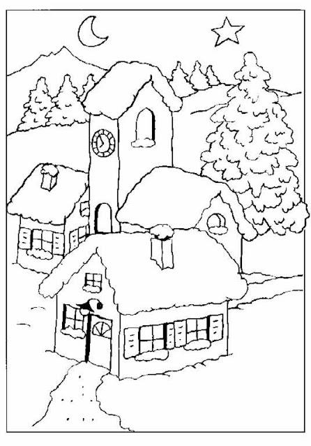 dibujo de casa nevada de navidad para colorear