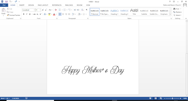 Screenshot of the font on a word doc