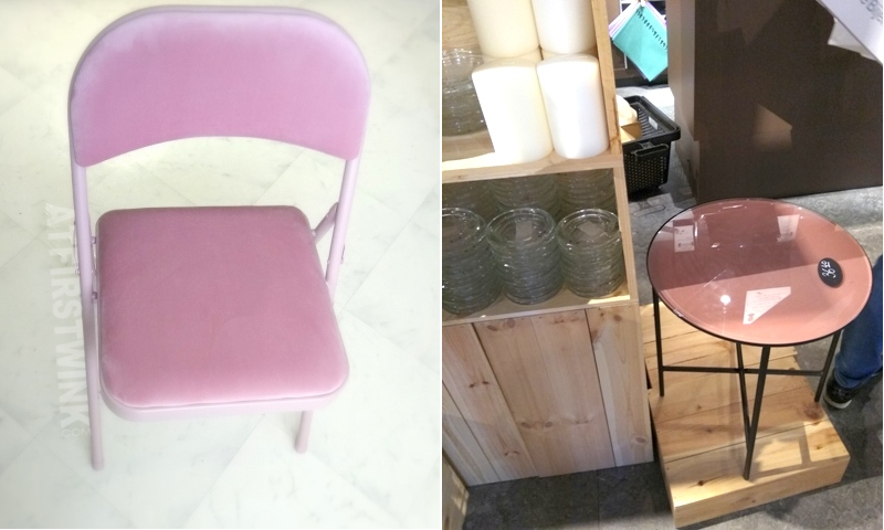 Søstrene grene store pink velour lined foldable chair glass topped side table