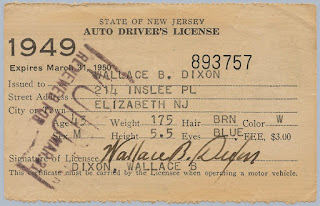 1949 NJ Driver's License issued to W.B. Dixon.