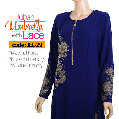 Jubah Umbrella Lace JEL-29 Blue Depan 5