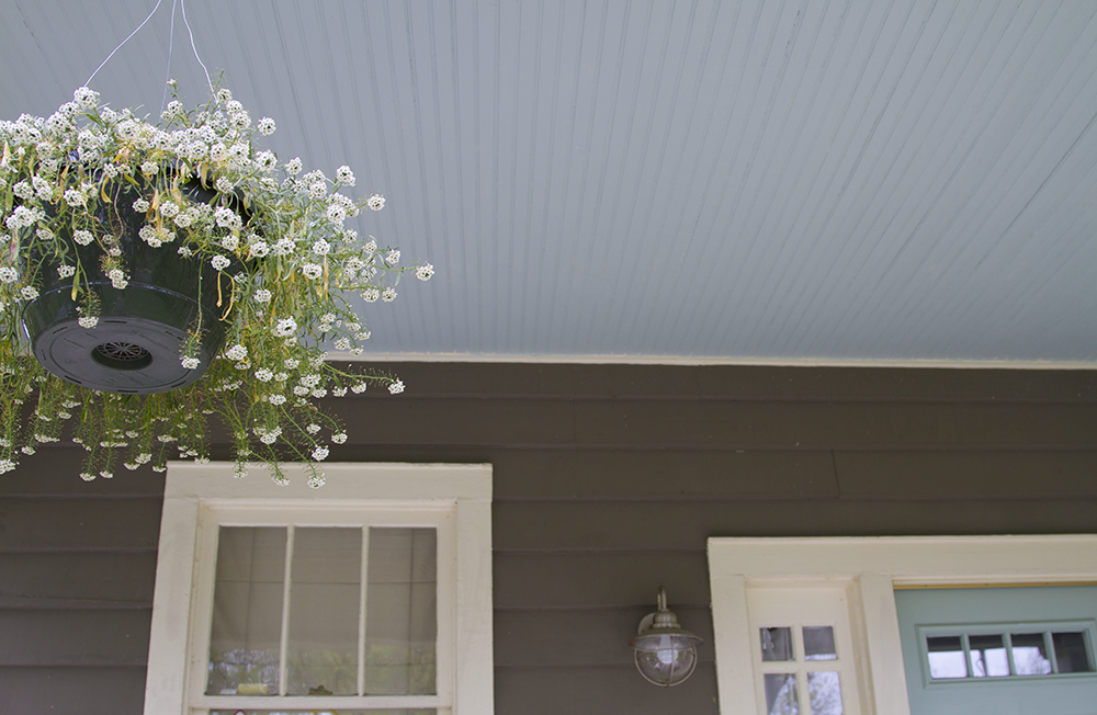 The Porch Makeover Continues A Haint Blue Ceiling