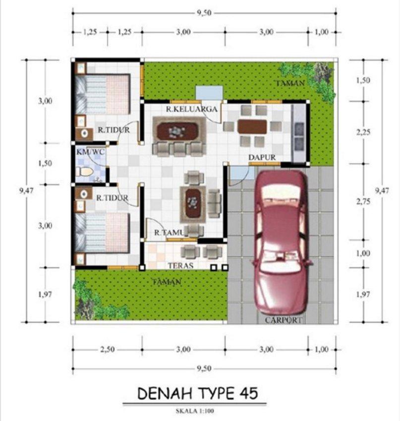 denah rumah ukuran 10x10 1 lantai moderen