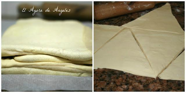 Plegar y cortar masa de croissant