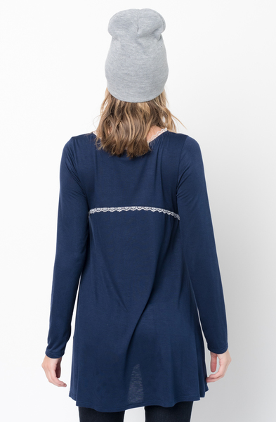 Buy Now navy Lace Trim Long Sleeve Jersey Top Tunic Online - $34 -@caralase.com