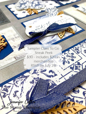 Tasteful Touches by Stampin' Up! Sampler Class to go.  RSVP by July 28, 2020!  $30 - includes $20 in merchandise!  Click link for RSVP info.  Shipping can be added!  #StampinUp #StampTherapist