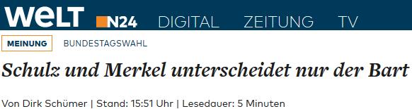 Schulz und Merkel unterscheidet nur der Bart