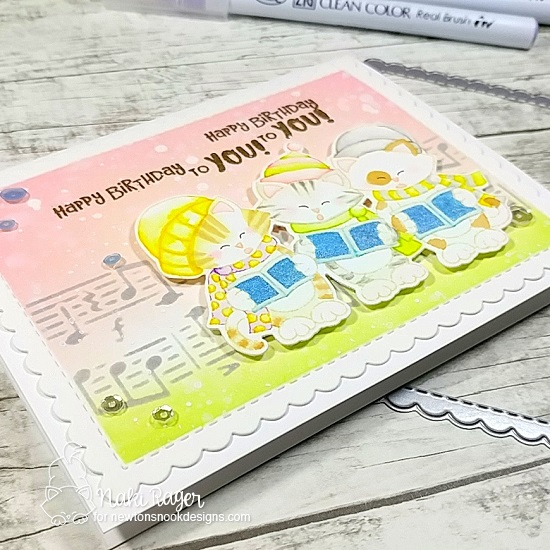 Birthday Serenade Card by Naki Rager | Caroling Newton Stamp Set and Music Stencil by Newton's Nook Designs #newtonsnook #handmade