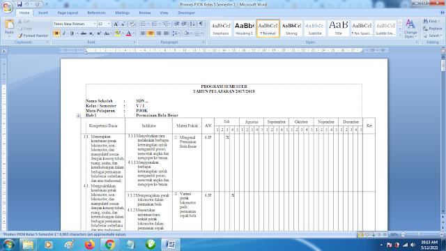 Contoh Promes PJOK Kelas 5 SD Semester 1 Kurikulum 2013 Revisi Terbaru