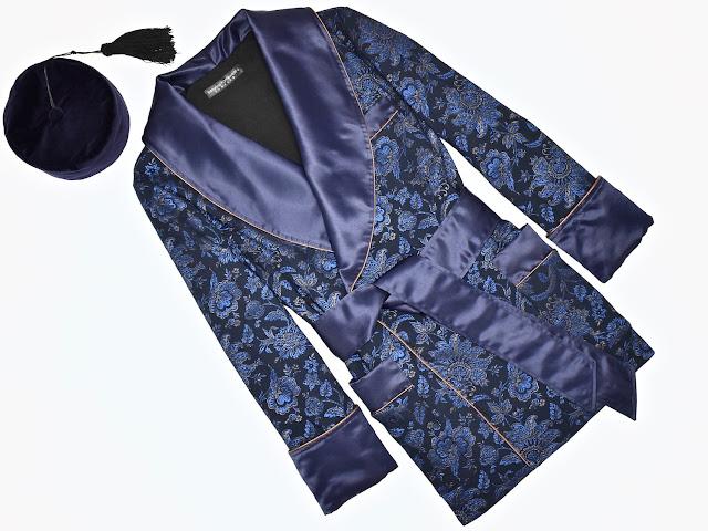 mens navy blue silk smoking jacket robe floral dressing gown vintage smoking cap smoker hat velvet