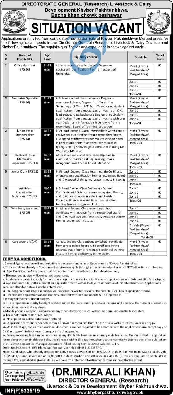 Jobs in Livestock and Dairy Development Department Govt of KPK 2020