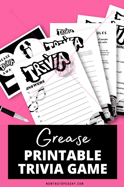 GREASE MOVIE 1950s trivia party game printable