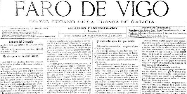 Fragmento de la primera página de la edición de Faro de Vigo del 4 de mayo de 1888