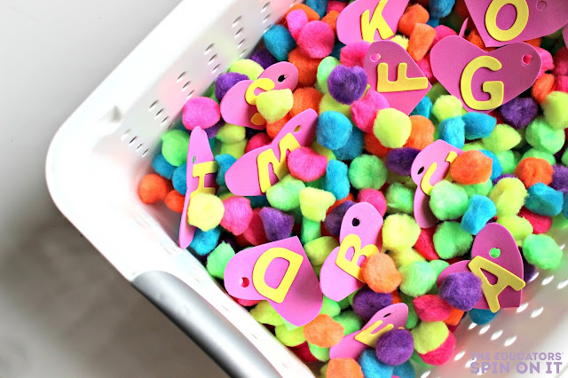 ABC Heart Search Game with Heart Sensory Bin