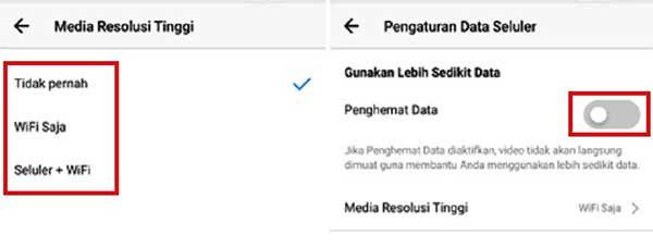 Opsi hemat data di instagram