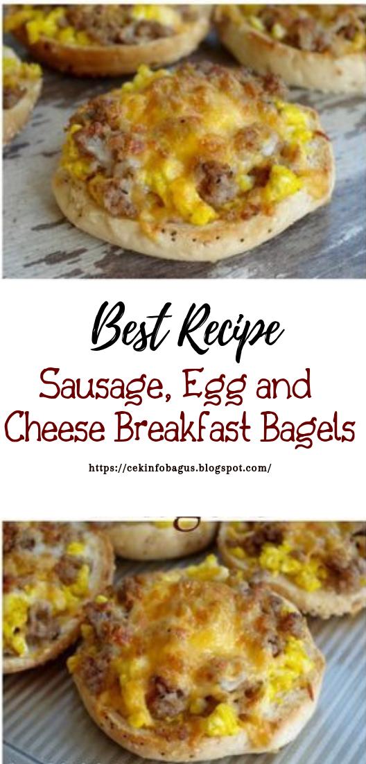 Sausage, Egg and Cheese Breakfast Bagels #healthyfood #dietketo #breakfast #food