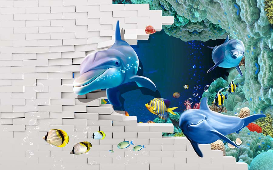 3D Dolphins PSD Wall Background