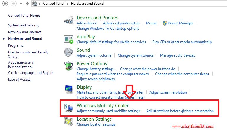 Hướng dẫn mở Windows Mobility Center trên Windows 8.1