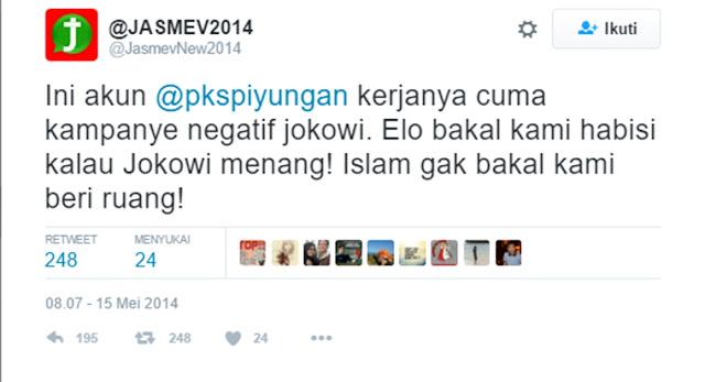 Cuitan Jasmev 2014 Sebut Bila Jokowi Menang, Islam Gak Bakal Kami Beri Ruang!