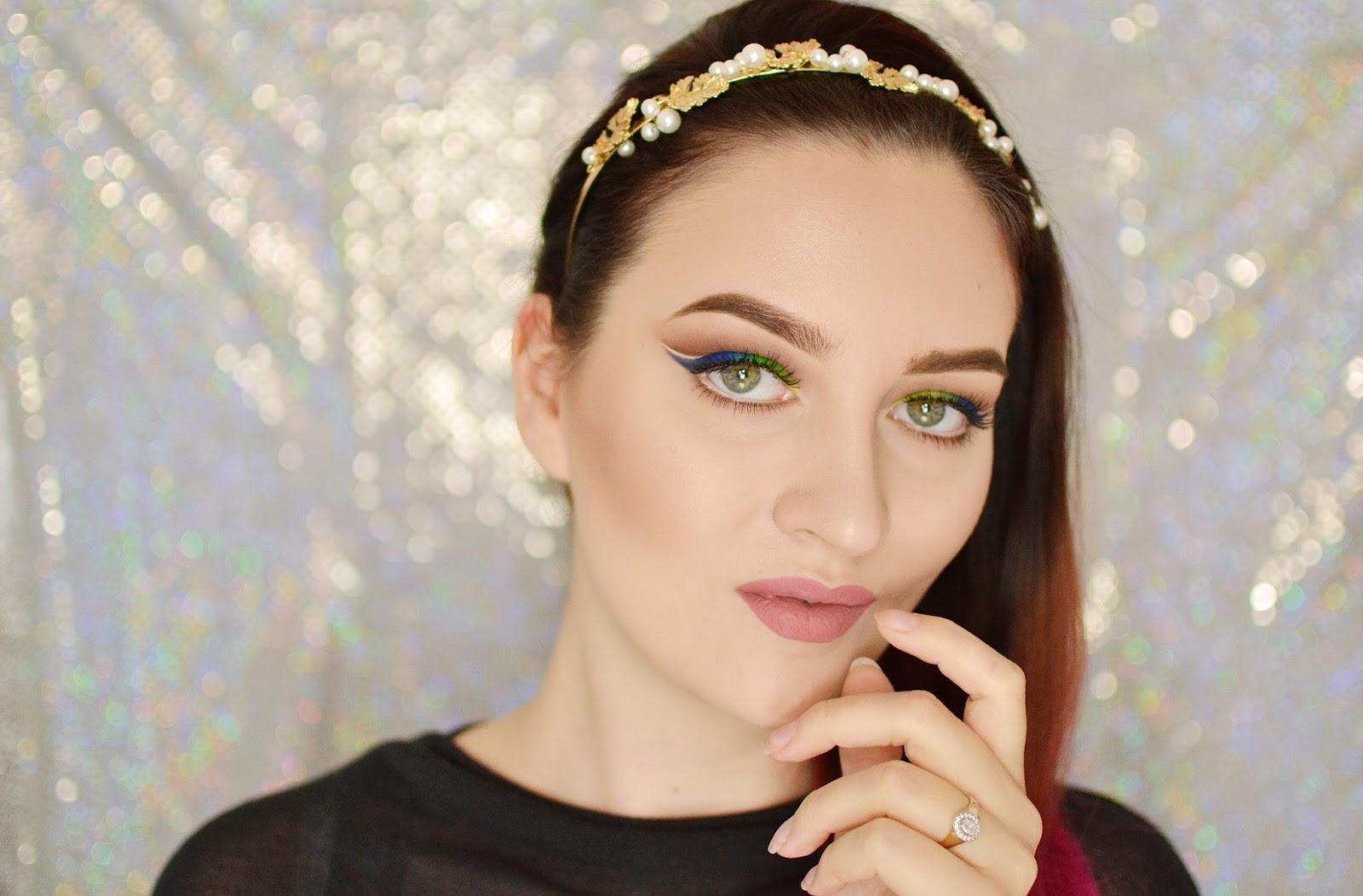 zielono niebieski makijaż wiosenny tutorial