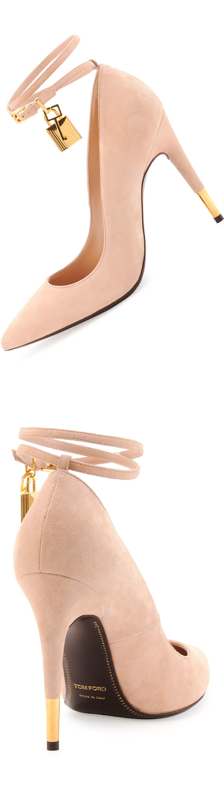 Tom Ford Suede Ankle-Lock Pump, Wild Rose