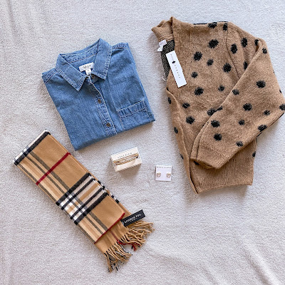 London Fog Scarf   Style & Co Denim Chambray Button Up Top   Anne Klein gold bangles  Rebecca Minkoff earrings   Top Shop Cardigan Beige and black polka dots   Canadian blogger   Toronto Blogger   Fashion blogger