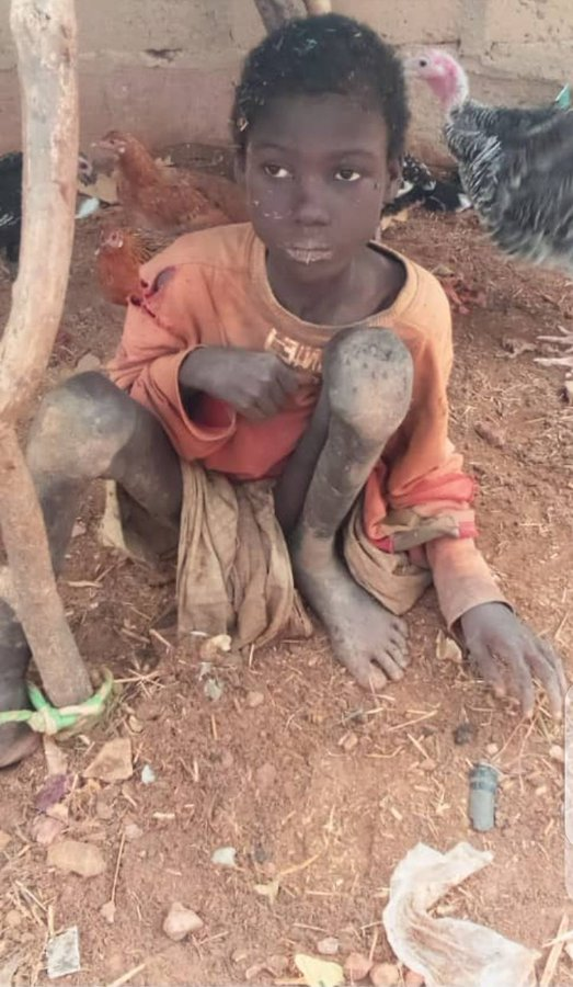 #JusticeForJubril: Story Of Jubril Chained Alongside Animals For 2years By Step Mothers (Videos/Photos)