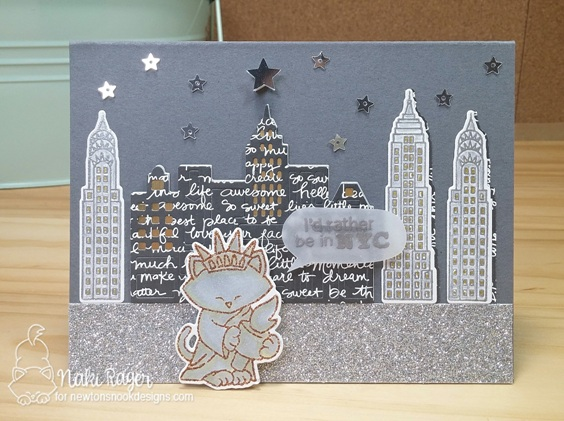 New York Night Scene Cat Card by Naki Rager | Newton Dreams of New York Stamp and Die Set by Newton's Nook Designs #newtonsnook #newyork