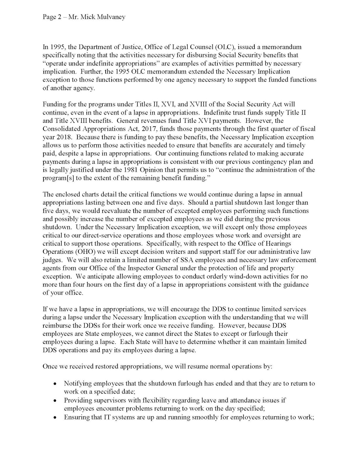 social security benefit letter 2018 social security news social security s shutdown plan 21337 | contingency plan Page 2