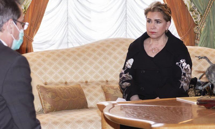 Grand Duchess Maria Teresa wore a black embroidered drill coat from Valentino