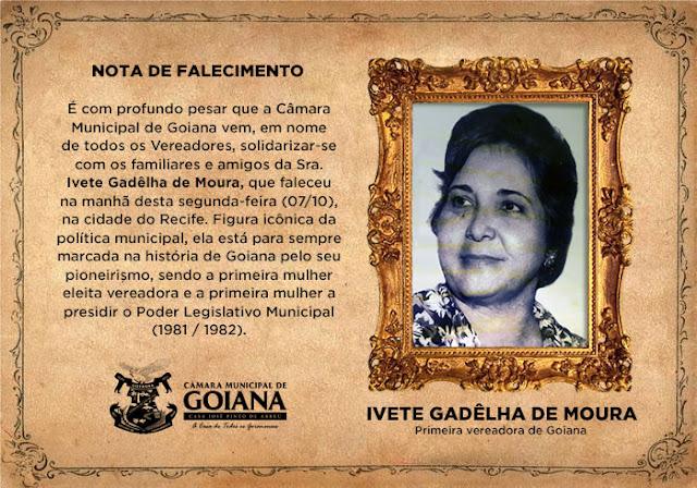 LUTO: Morre Ivete Gadêlha, primeira mulher eleita vereadora em Goiana