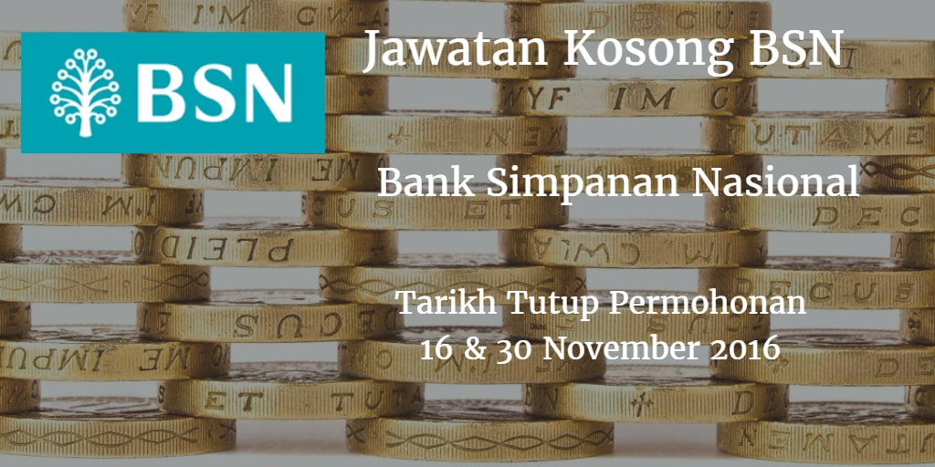 Jawatan Kosong BSN 16 & 30 November 2016