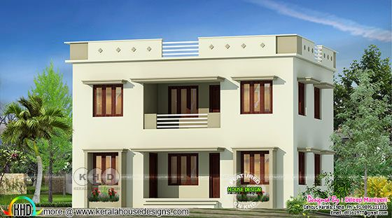 1551 square feet 4 bedroom flat roof house plan