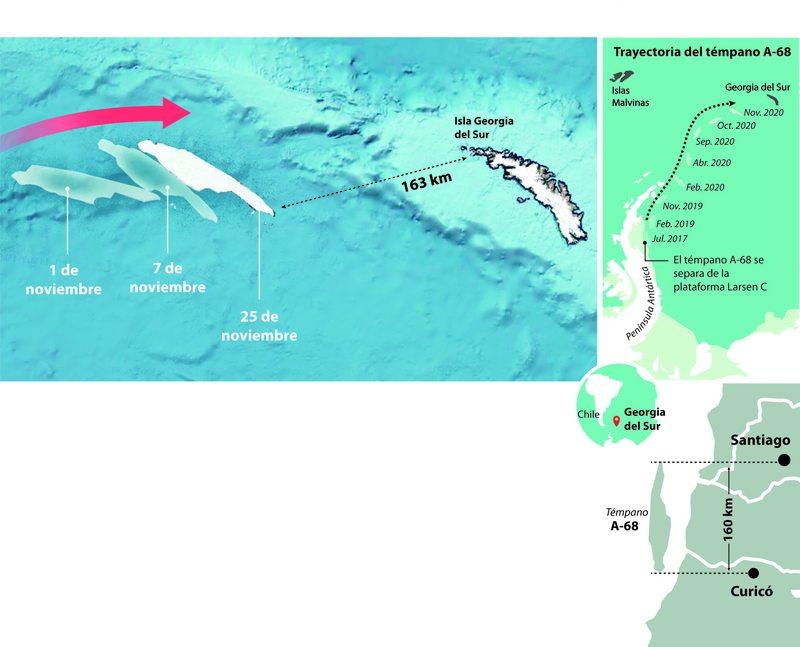 Témpano gigante está a punto de chocar con una isla en medio del Atlántico