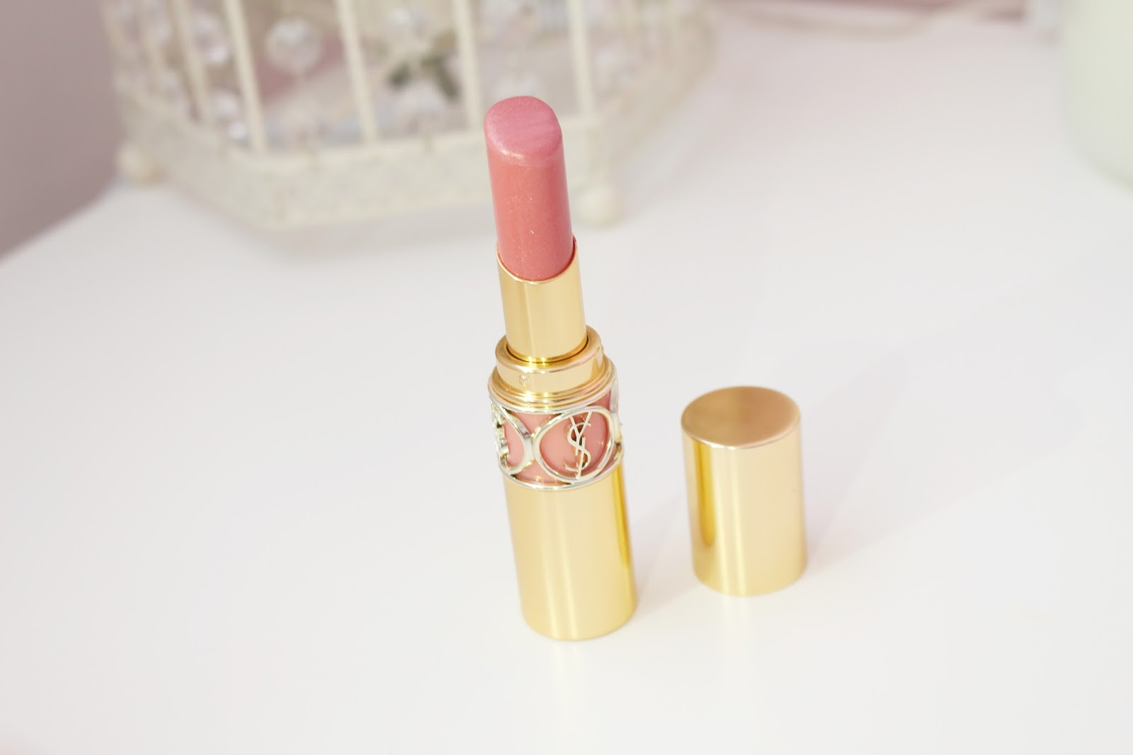 YSL Rouge Volupté Shine Lipstick in 08 Pink in Confidence
