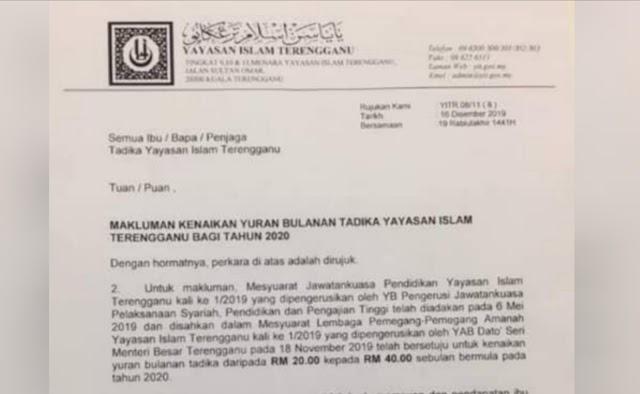 Yuran Bulanan Tadika Yayasan Islam Terengganu Naik 100%