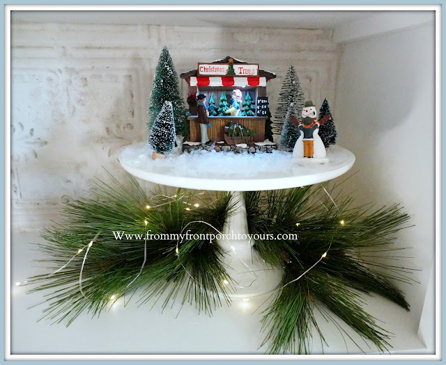 French- Farmhouse- Cottage -White Dining- Room -Cabinet-Christmas-Christmas-Village- Vignettes-From My Front Porch To Yours