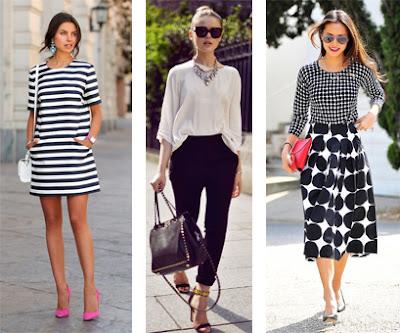 3 looks preto e branco com acessório statement: Vestidos às riscas com sapatos rosa | Calças pretas e blusa branca com maxi colar | Saia midi às bolas com camisola aos quadrados e mala vermelha