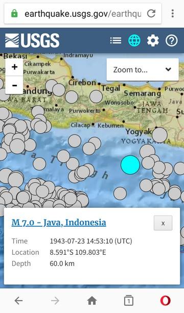 Tampilan Peta Terrain Katalog Gempa USGS