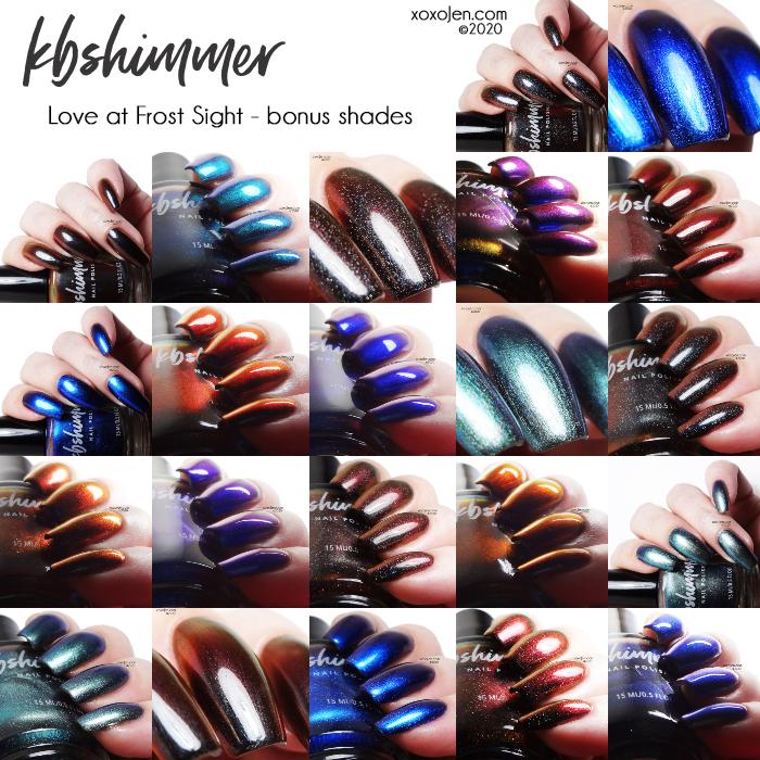 xoxoJen's swatch of KBShimmer Love At Frost Sight - bonus shades