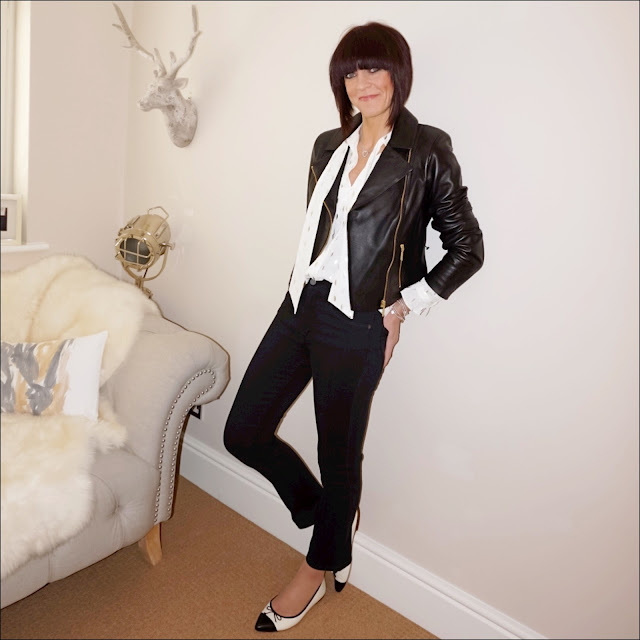 My Midlife Fashion, Baukjen everyday biker jacket, zara pussy bow blouse, french connection rebound cropped kickflarejeans, bella jane jewellery, j crew two tone pointed ballet flats