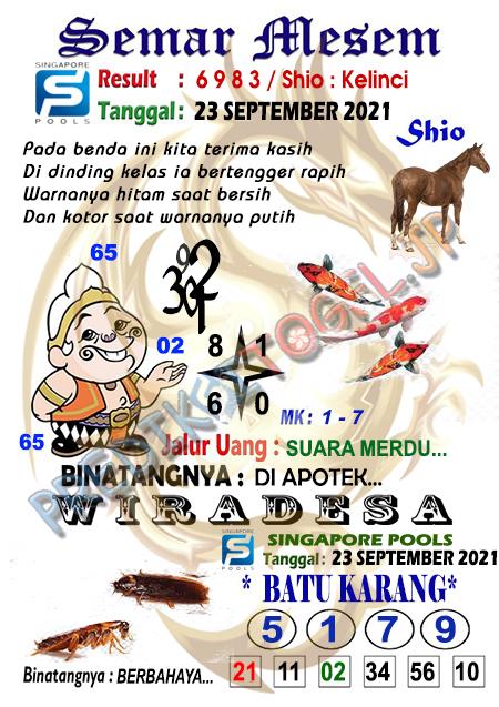 Syair Semar Mesem SGP Kamis 23-Sep-2021