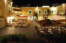 Piazza Umberto I in Capri, better known locally as La Piazzetta