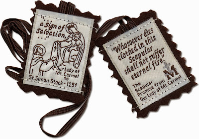 A photo of the Brown Scapular of Our Lady of Mount Carmel