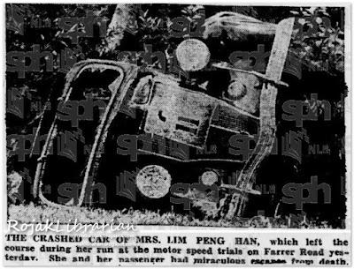 Crashed car of Mrs. Lim Peng Han